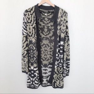 BKE Boutique Tribal Southwest Print Long Cardigan